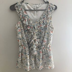LC Lauren Conrad sleeveless birds blouse M